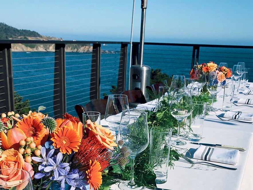 large table set with views of ocean