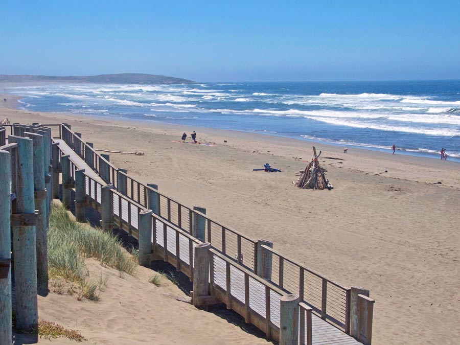 People build driftwood forts on the beach in Sonoma County