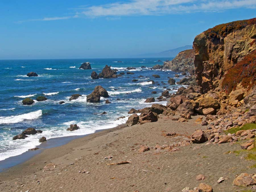 The rocky, rugged beach on the Sonoma Coast