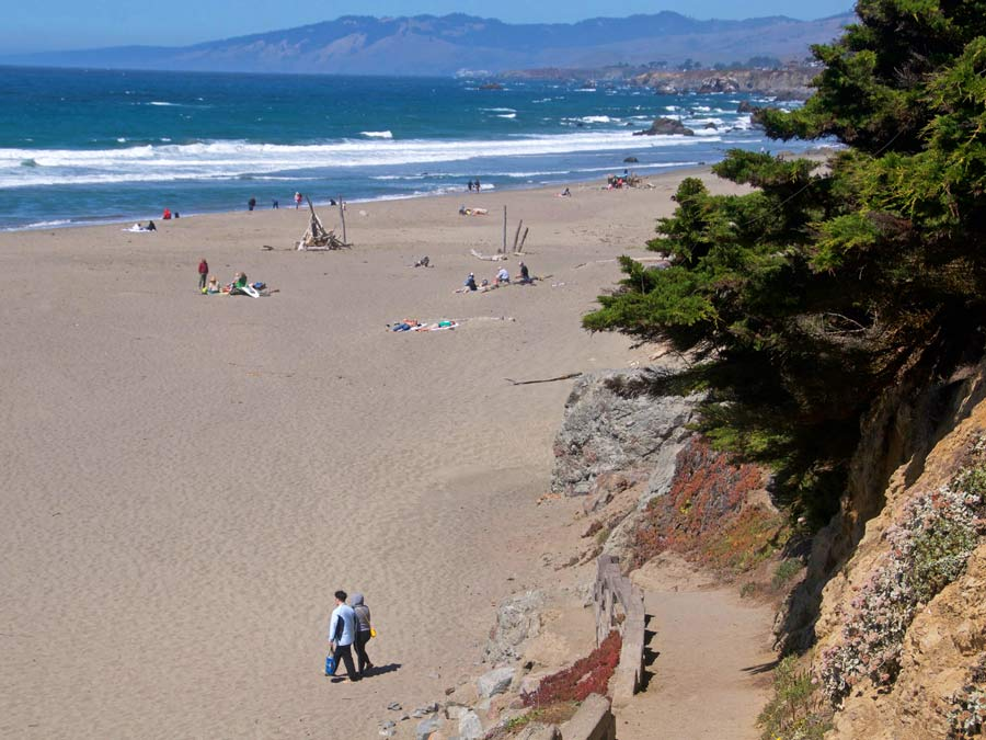 People walk along a sandy beach in Sonoma County