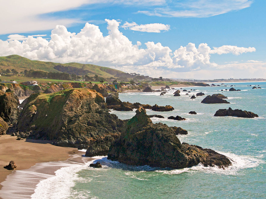 Bright blue skies over the cliffs of the Sonoma County coast