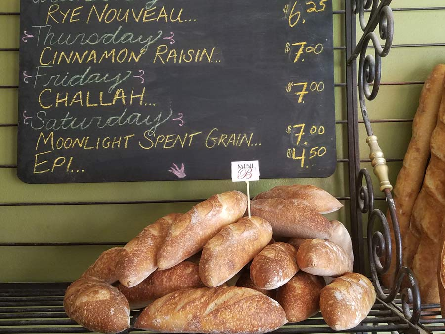 Fresh baguettes for sale at Nightingale Breads, Forestville