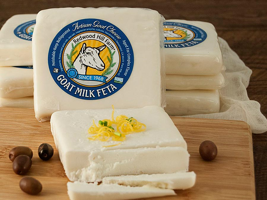 Homemade blocks of feta cheese from goats milk