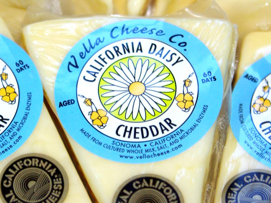Pieces of cheddar from Vella Cheese Company, Sonoma County
