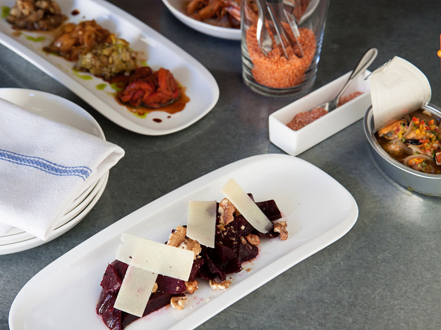 A table set with a varied of tapas at Bravas Bar de Tapas, Healdsburg