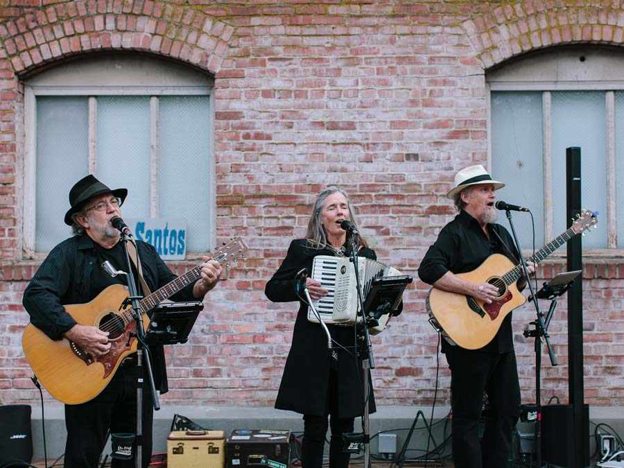 A band plays on the outdoor patio at Brewsters Beer Garden, Petaluma