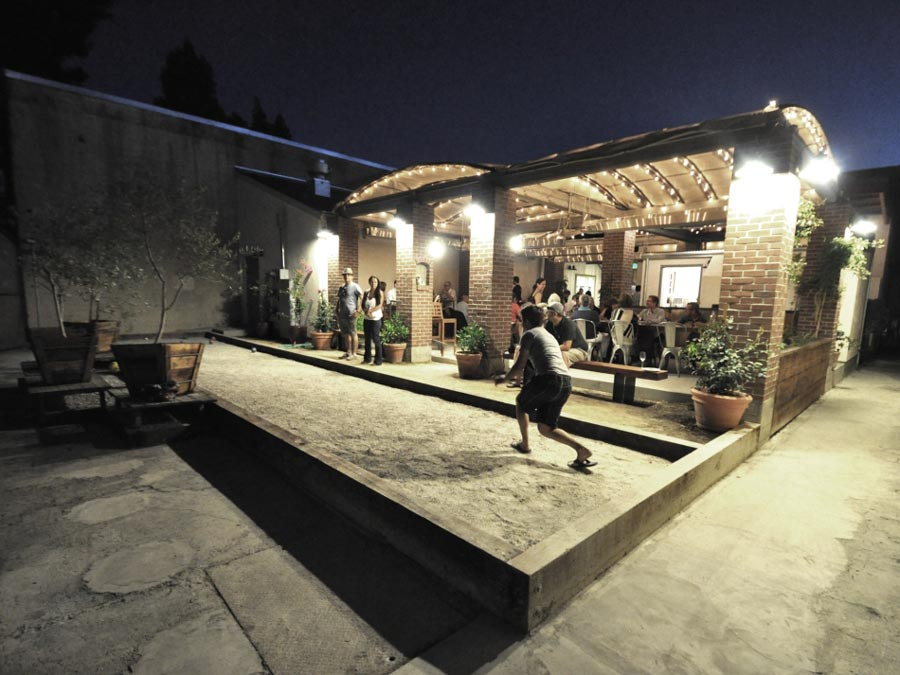 The bocce court comes alive at night at Campo Fina, Healdsburg