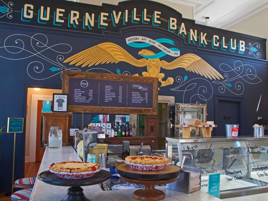Chile Pies Baking Co. and Nimble & Finn's Ice Cream are found in the Guerneville Bank Club, Sonoma County