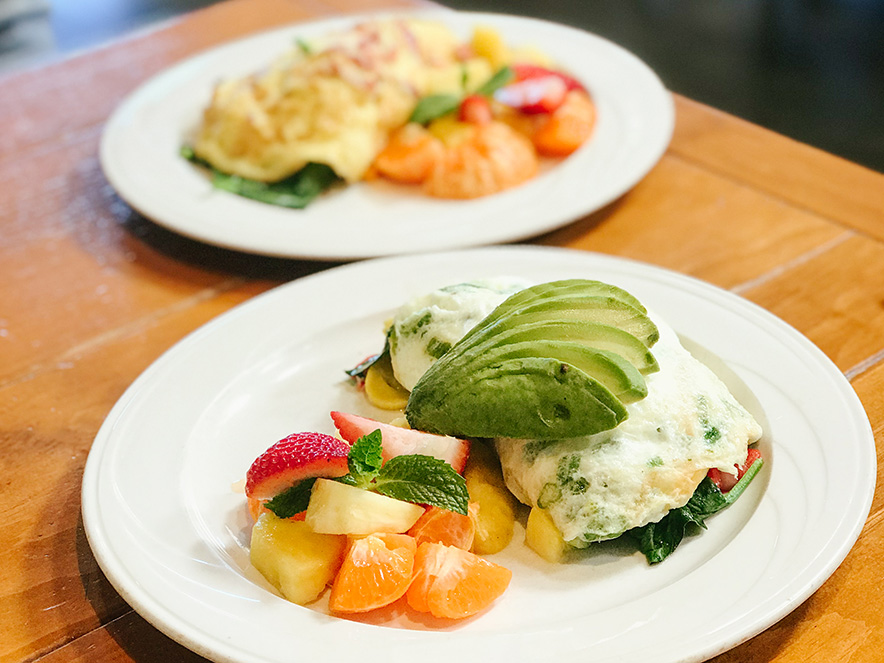 Image of an eggs and avocado breakfast at Costeaux in Healsburg