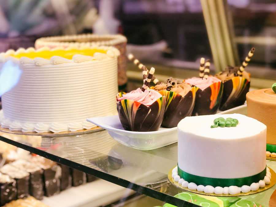Luscious desserts on display at Costeaux French Bakery, Healdsburg