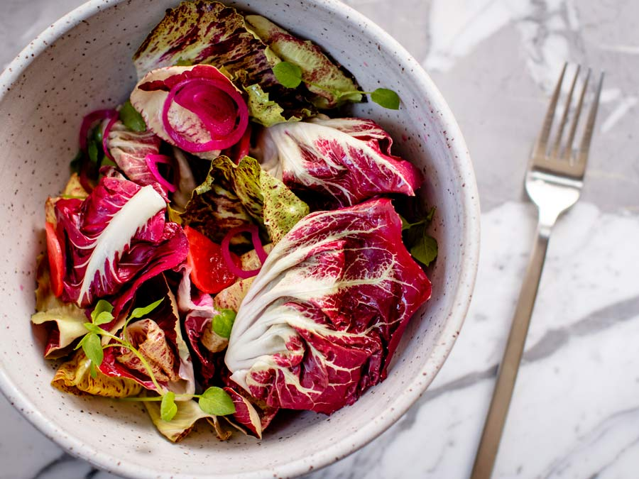 A vibrant salad of radicchio and other lettuce at Fern Bar in the Barlow, Sebastopol