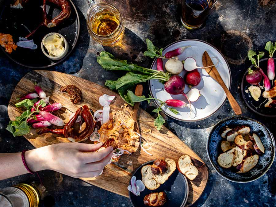 Delicious food from above on a wood table in Sonoma County