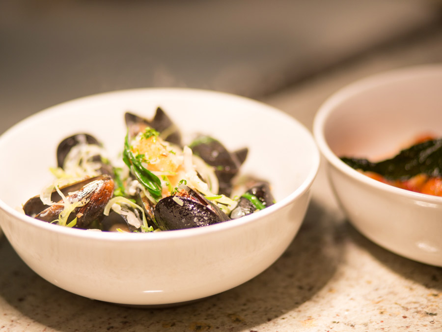 A bowl of mussels is served at the fig cafe & winebar, Glen Ellen