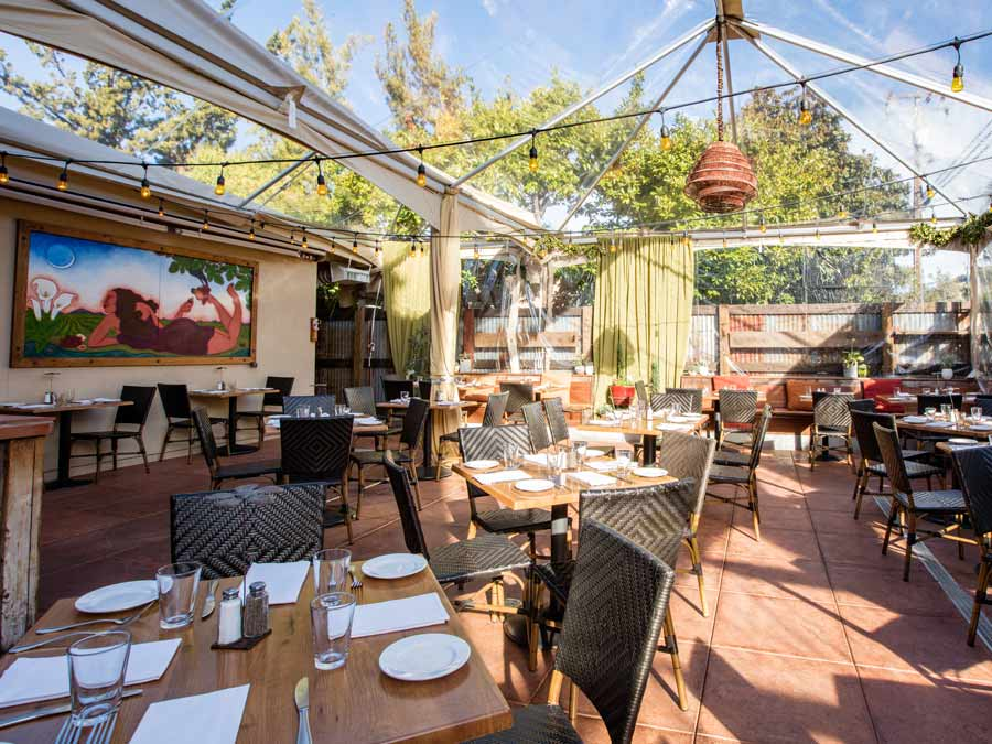 The outdoor patio at the girl & the fig, Sonoma