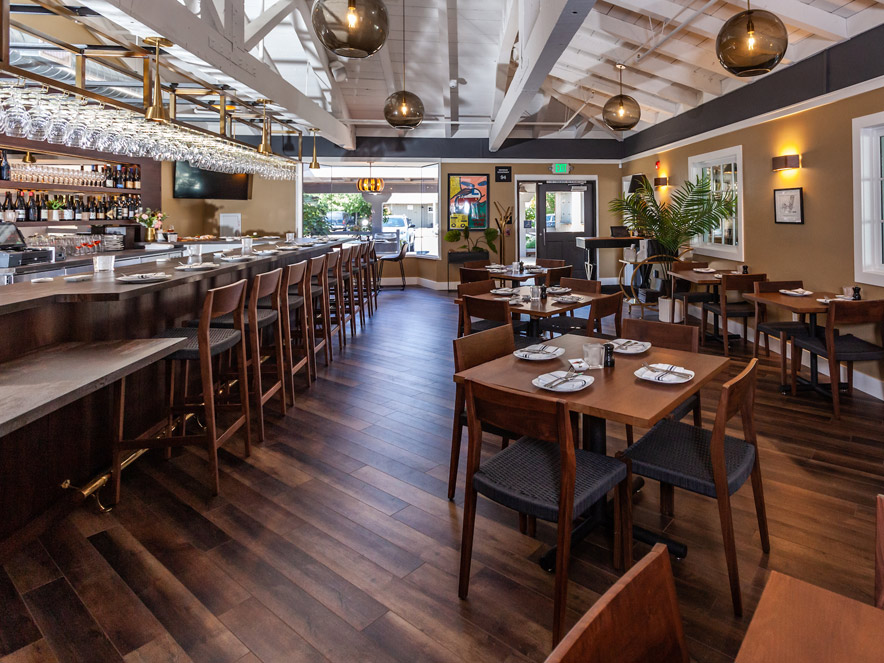 dining room and bar top at willis wine bar in Sonoma County