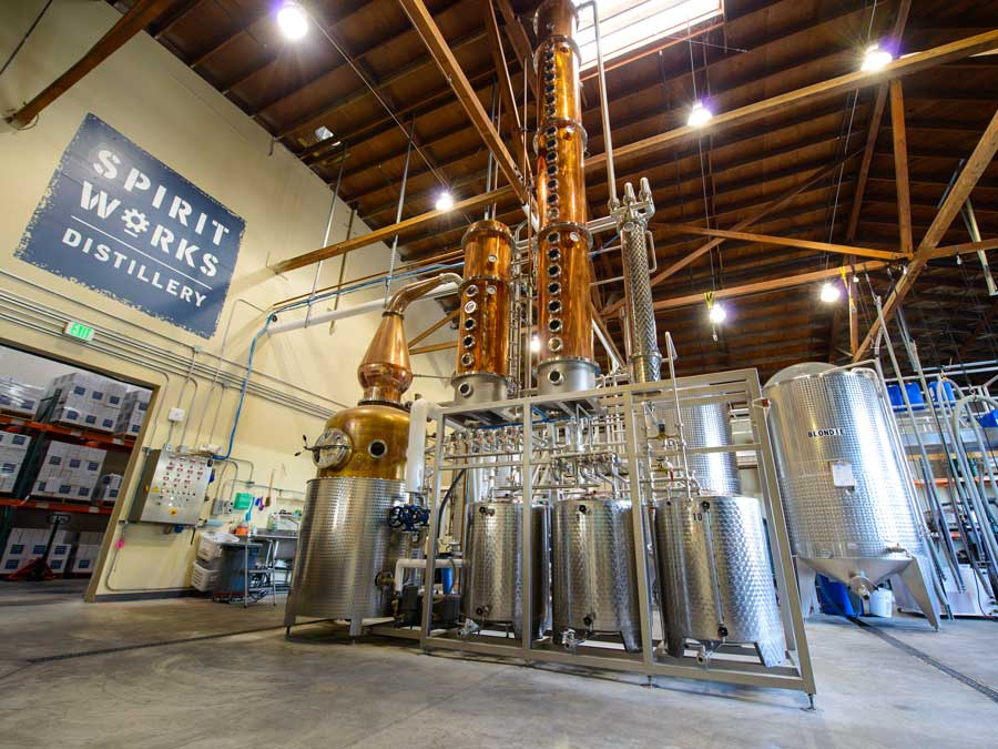 The massive still used to distill spirits at Spirit Works Distillery, Sebastopol