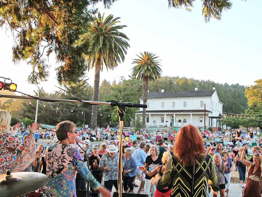 People dance to a band at Funky Fridays Hood Mansion in Hood Mountain Regional Park, Santa Rosa
