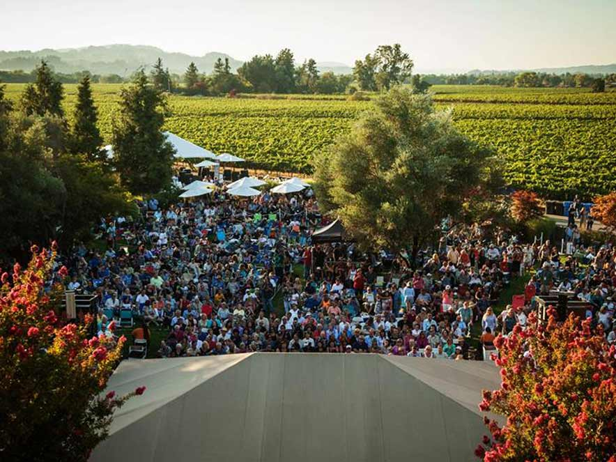Guests dance to the music at the Rodney Strong Summer Concert Series, Healdsburg