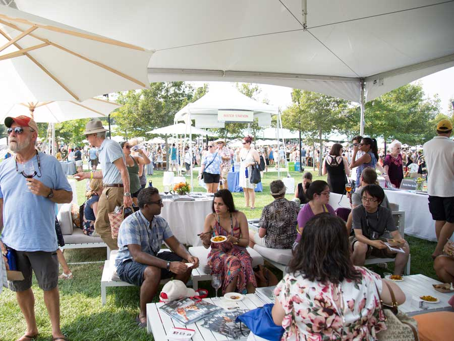 Guests enjoy wine and food at the Taste of Sonoma, Sonoma County