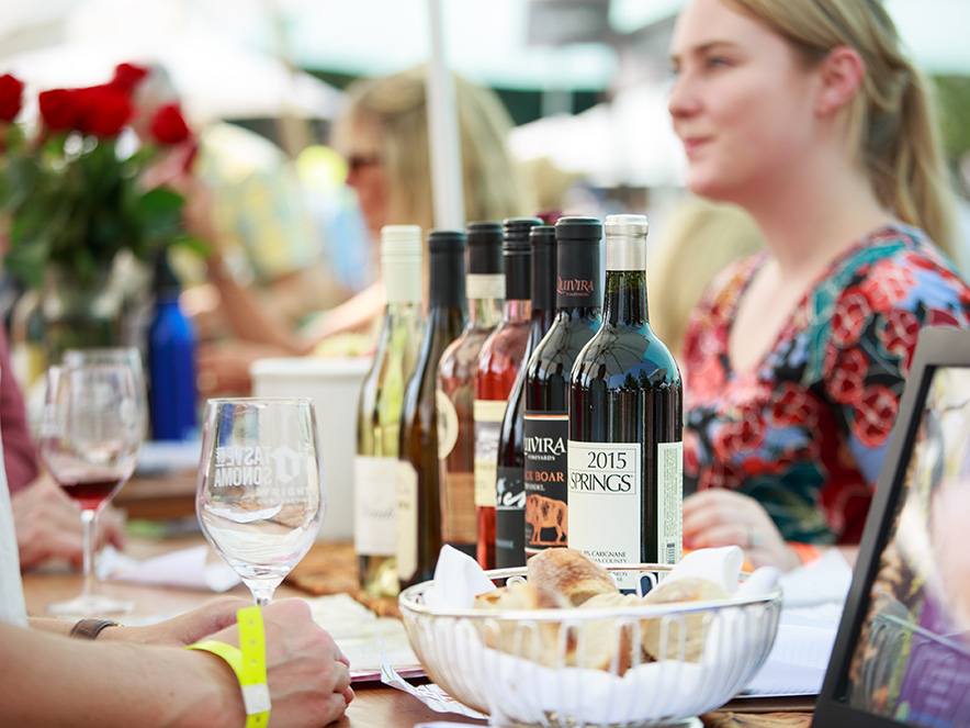 A line up of top wines at Taste of Sonoma in Sonoma County