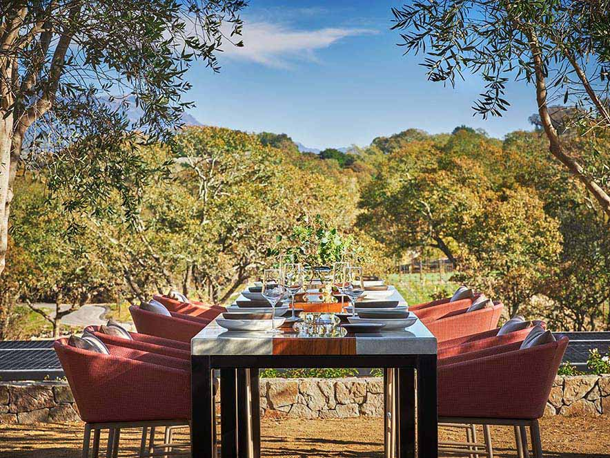 long table set for a meal among trees with views of the hills