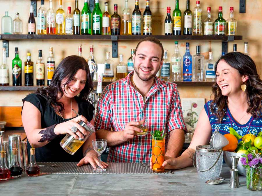 The bartenders mix gorgeous drinks at Duke's Spirited Cocktails, Healdsburg
