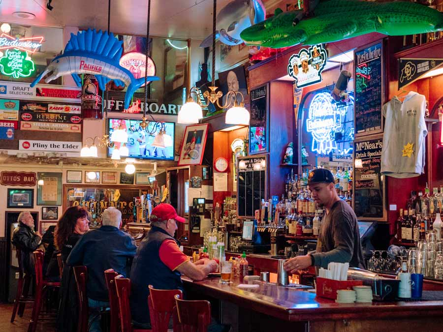 Guests enjoy drinks at the bar at McNear's Saloon & Dining House, Petaluma