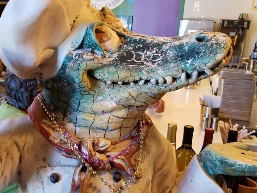 Image of alligator statue at Gator's Rustic Burger & His Creole Friends