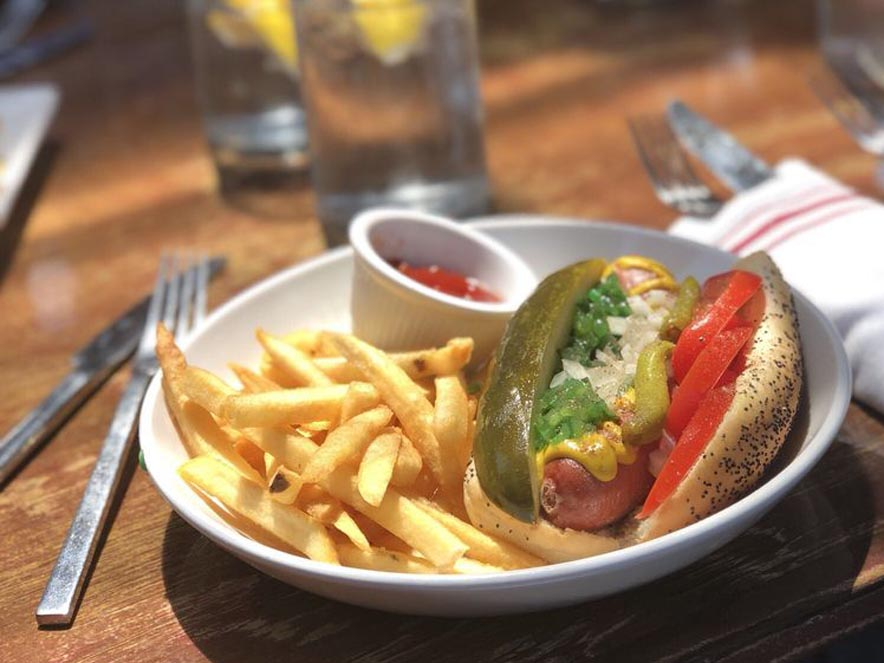 Image of chicago hot dog from Palooza Brewery and Gastropub in Kenwood, California.
