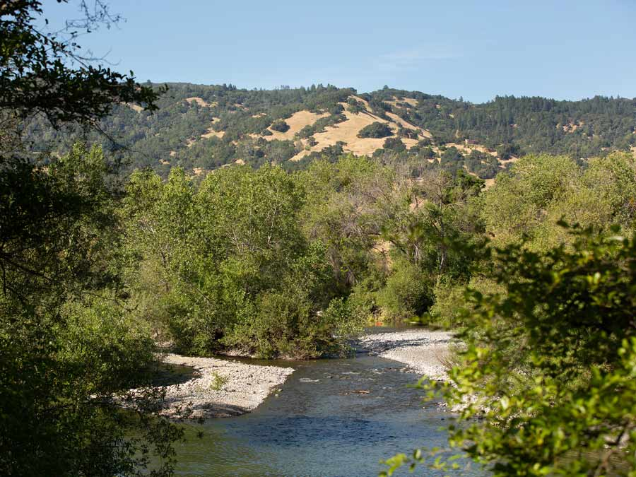 The Russian River meanders at Cloverdale River Park, a regional park in Sonoma County