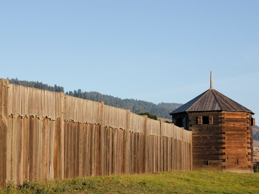 The historic fort at Fort Ross State Historic Park is right on the coast in Sonoma County