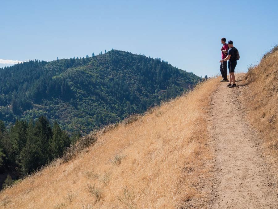 People climb along a trail at Hood Mountain Regional Park and Open Space Preserve, Sonoma County