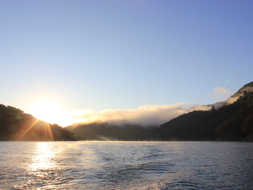 Mist and fog roll over the water at Lake Sonoma