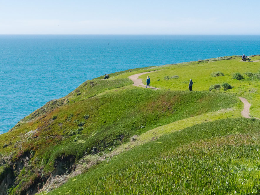 People hike the green cliffside of Bodega Head at Bodega Bay in Sonoma County, California