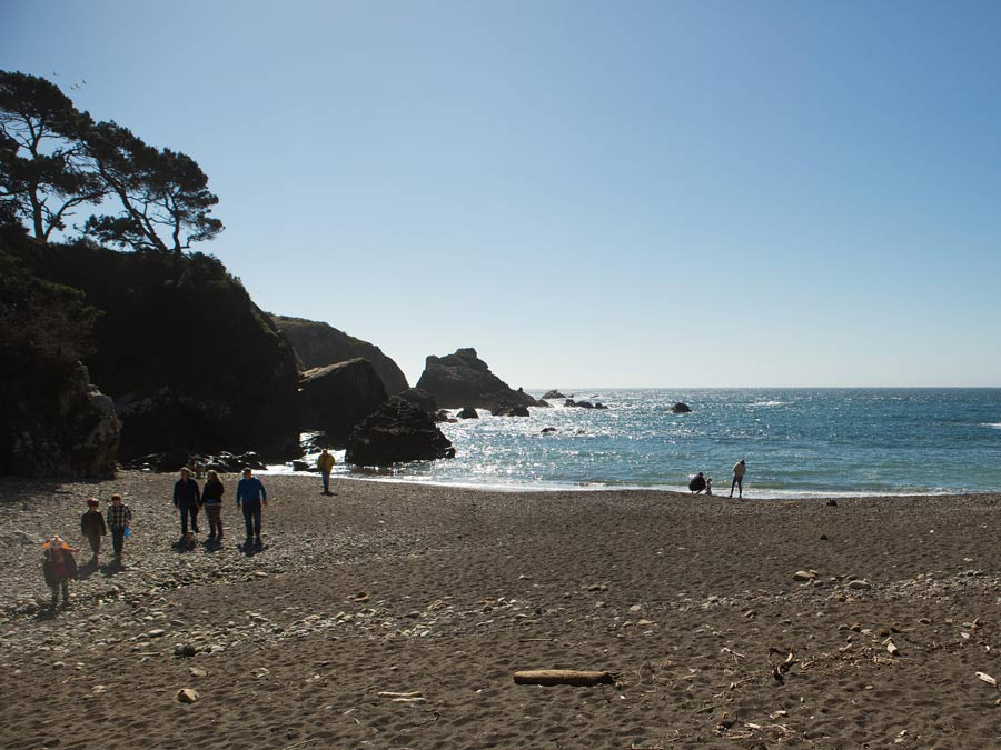 People walk along the beach at Stillwater Cove Regional Park, Sonoma County