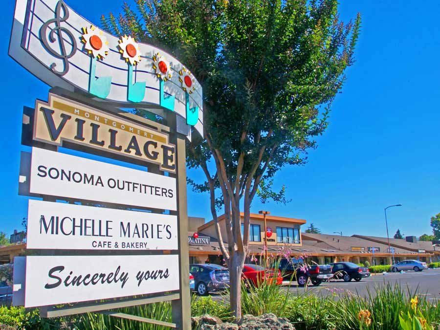 Sign post at Montgomery Village, Santa Rosa