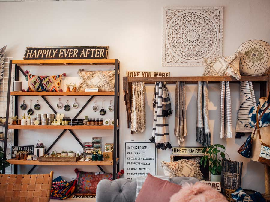 A selection of vintage, clothes, home decor, and furniture at Boho Bungalow, Sebastopol