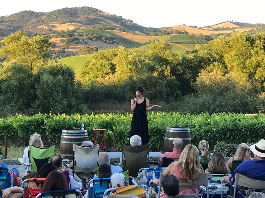 comedian on stage at winery during comedy show in Sonoma County