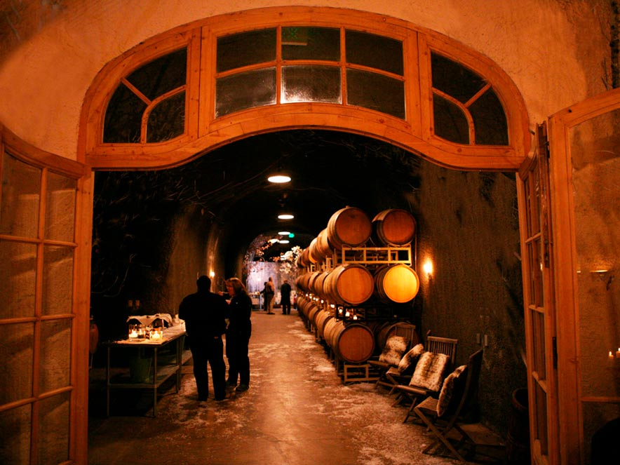 The interior of the wine cave has a cozy, orange glow at Bella Vineyards and Wine Caves, Healdsburg