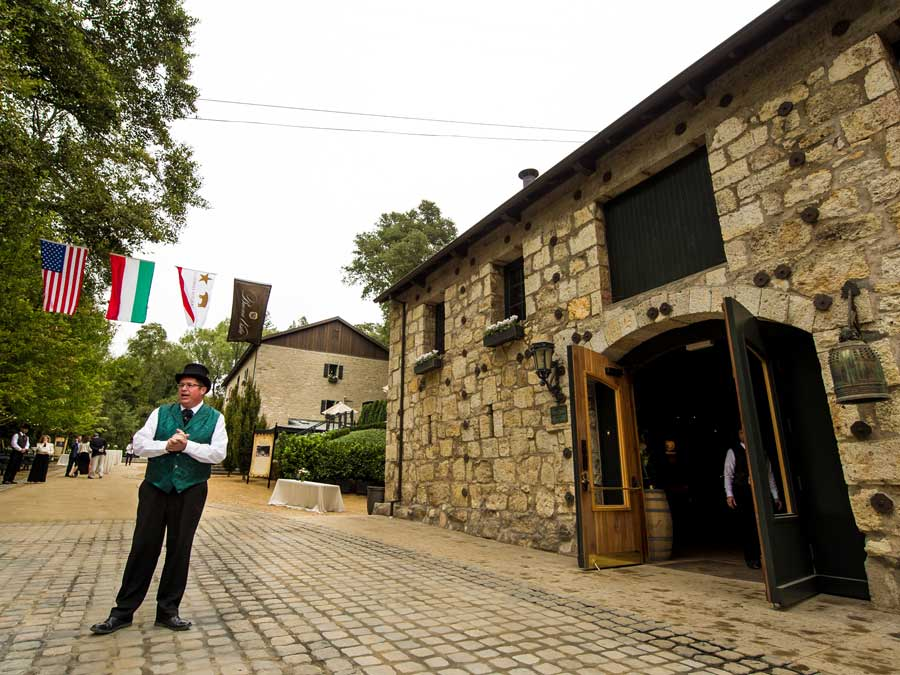 A gentleman leads a tour through the historic Buena Vista Winery, Sonoma