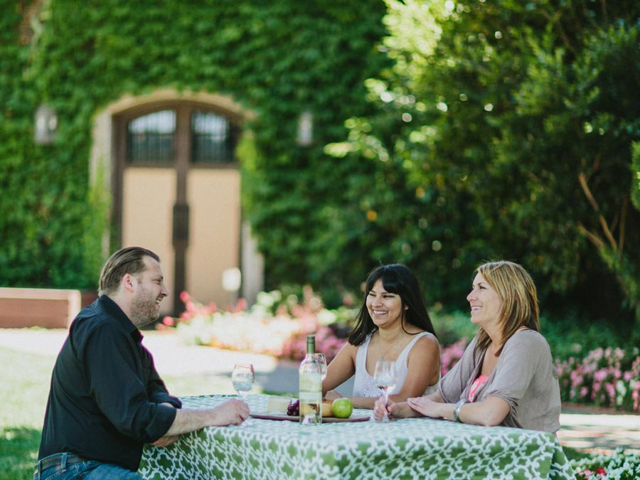 Three friends enjoy a picnic in front of Dry Creek Vineyard, Healdsburg