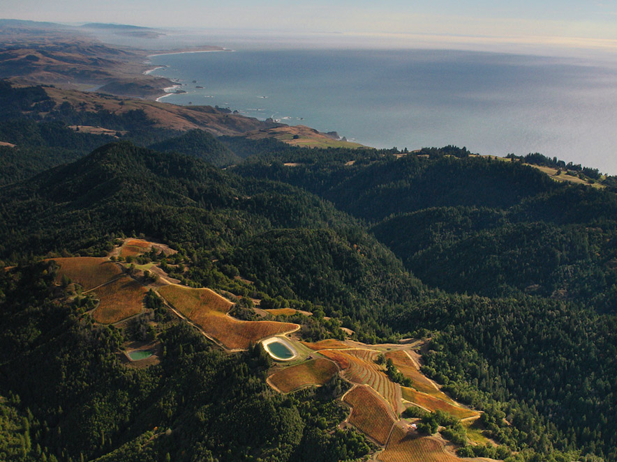 Arial shot of Fort Ross Vineyards on the Sonoma County coast