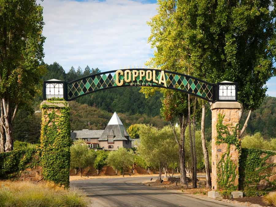 The entrance to Francis Ford Coppola Winery, Geyserville