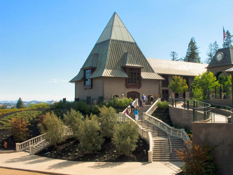 The majestic staircase leading to Francis Ford Coppola Winery, Geyserville