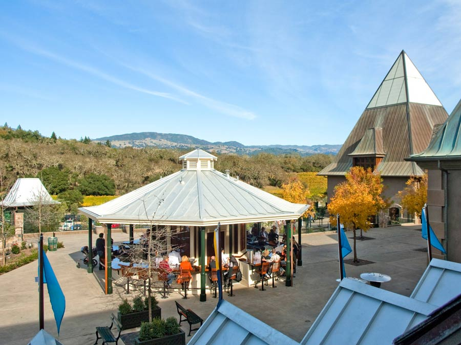 Guests enjoy the outside terrace at Francis Ford Coppola Winery, Geyserville
