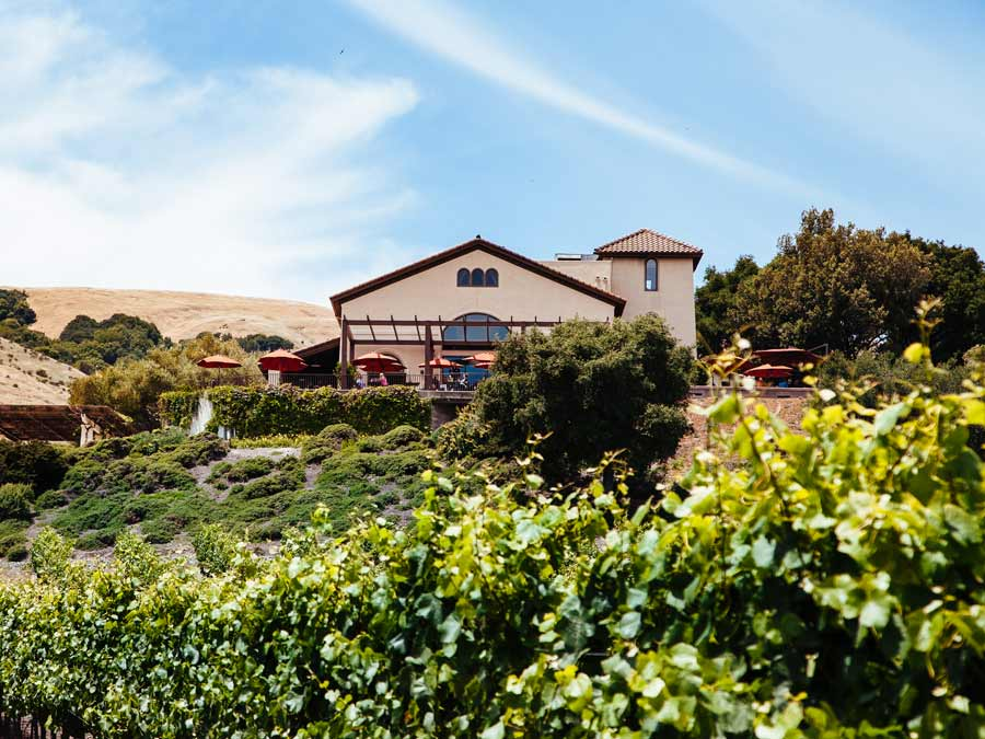 The majestic exterior of Gloria Ferrer Caves & Vineyards, Sonoma