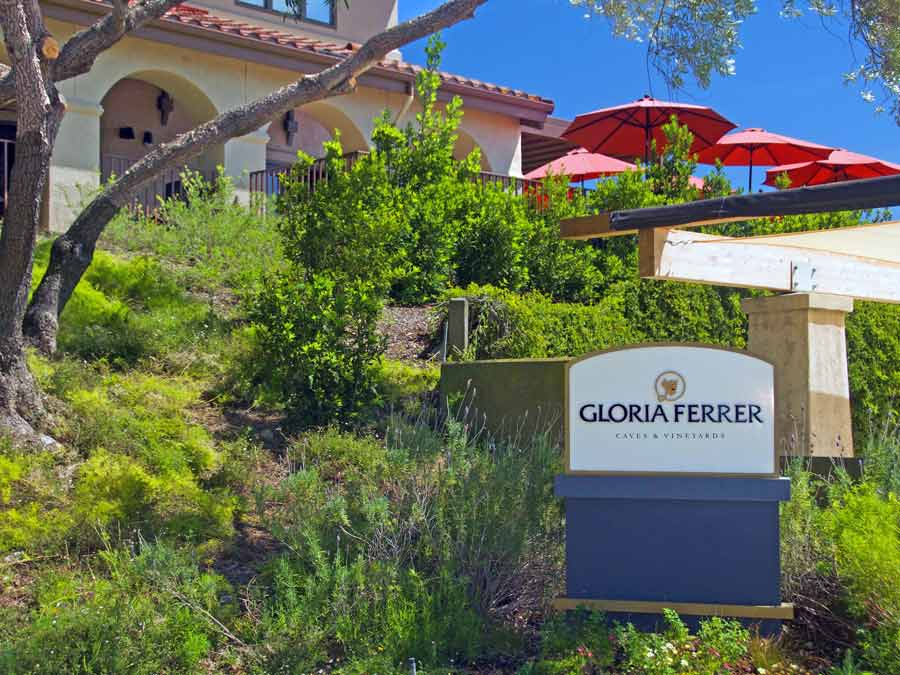 The entrance to the iconic Gloria Ferrer Caves & Vineyards, Sonoma