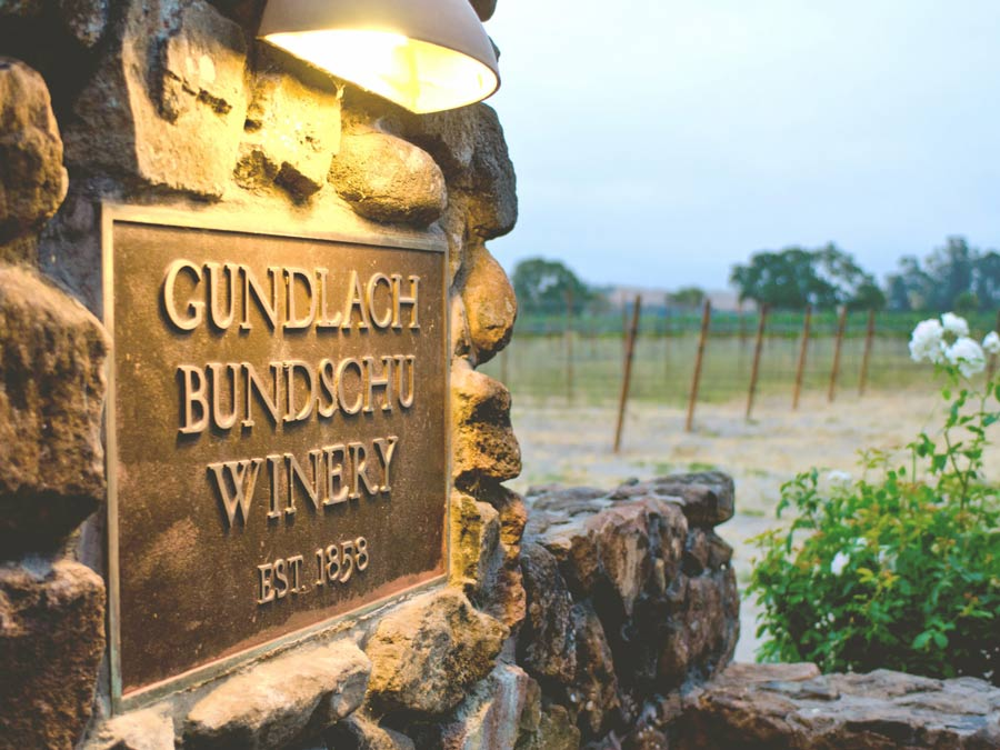 A sign for Gundlach Bundschu Winery in Sonoma County says established in 1858