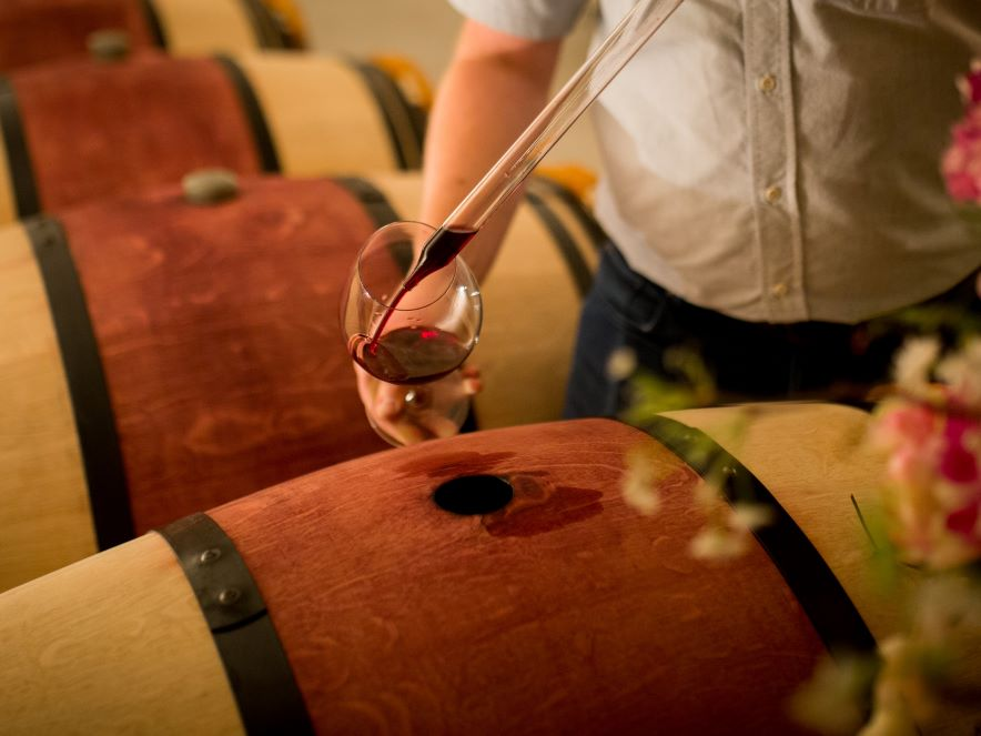Pouring wine from wine barrel at a winery