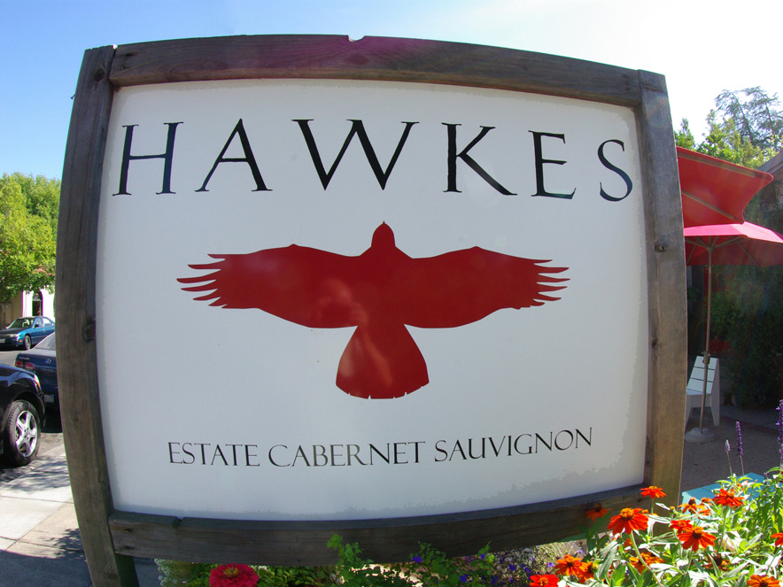 Hawkes Tasting Room sign in Sonoma County